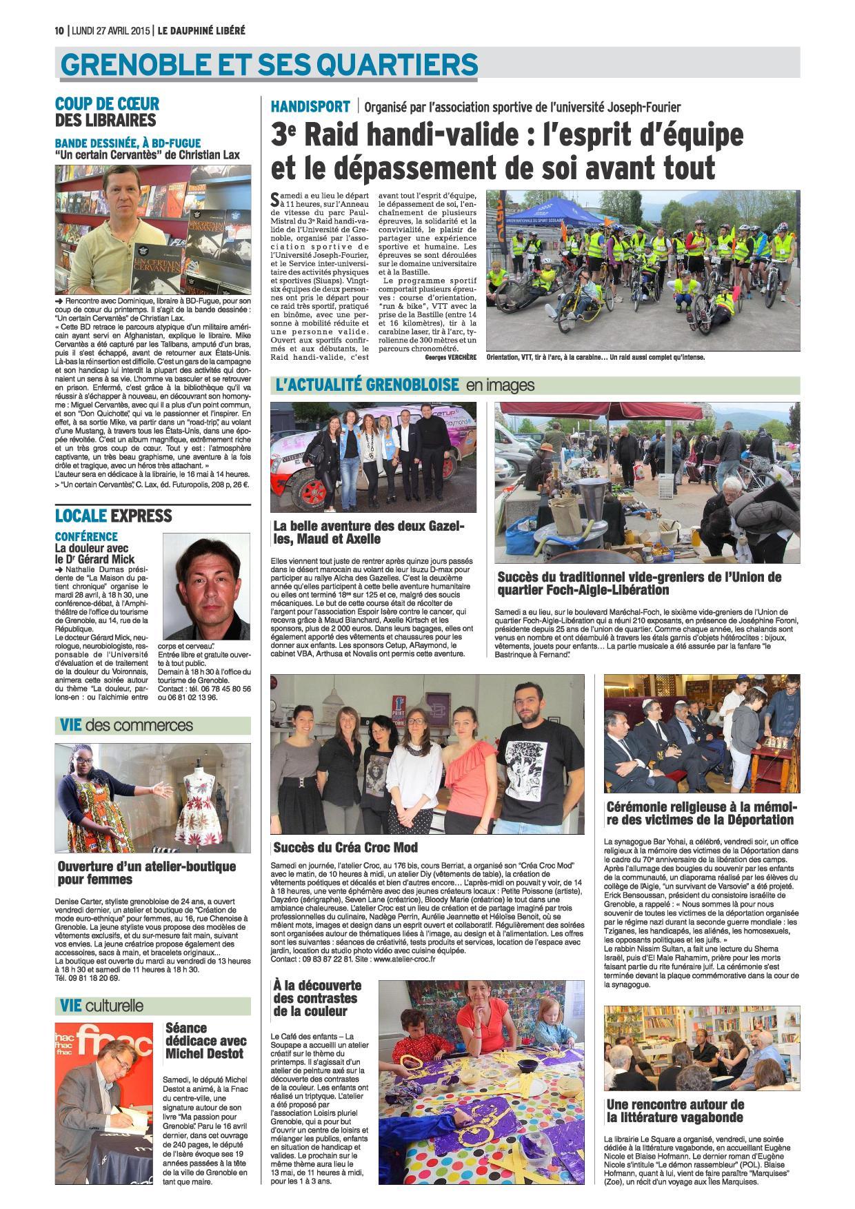 Dauphiné Libéré 27 avril 2015 page 10