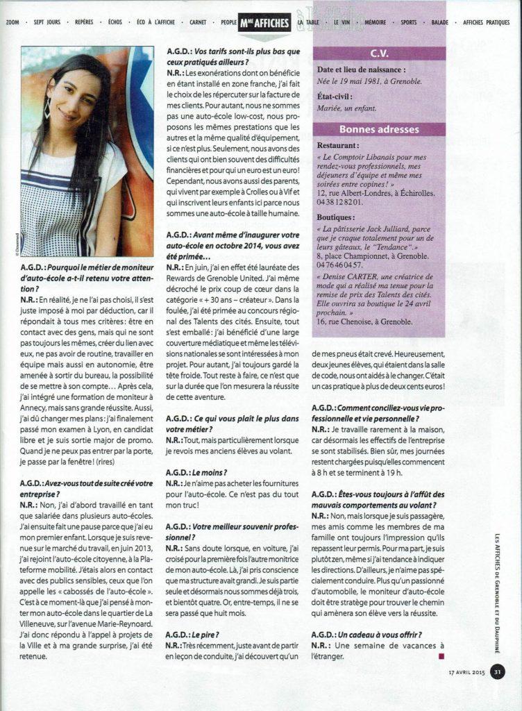 Les affiches couverture avril 2015 article sur Nacera ROZCZKO page 31